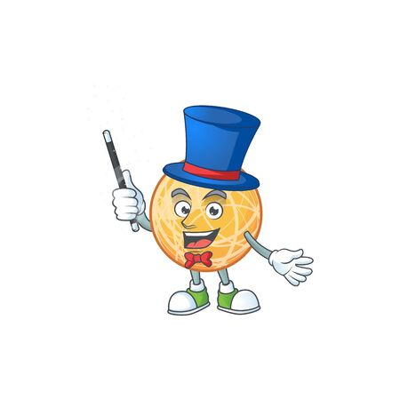 Magician object cantaloupe fruit for mascot character vector illustration Illustration