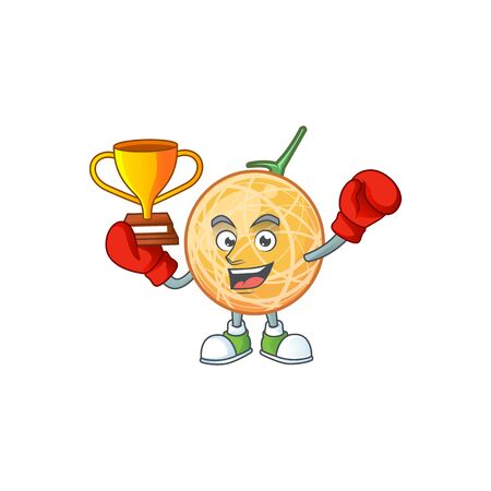 Boxing winner object cantaloupe fruit for mascot character vector illustration
