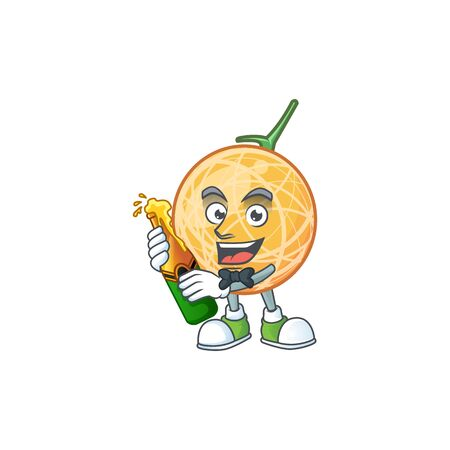 With beer object cantaloupe fruit for mascot character vector illustration Illustration