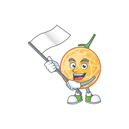 With flag object cantaloupe fruit for mascot character vector illustration