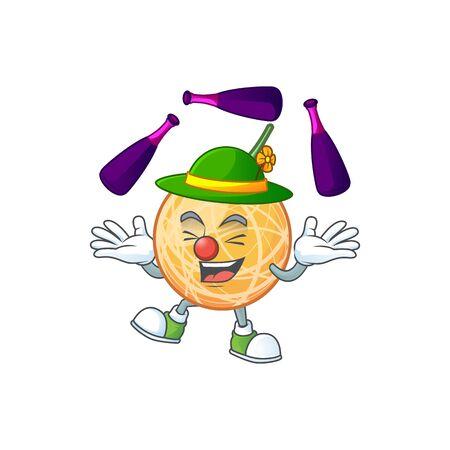 Juggling object cantaloupe fruit for mascot character vector illustration Illustration