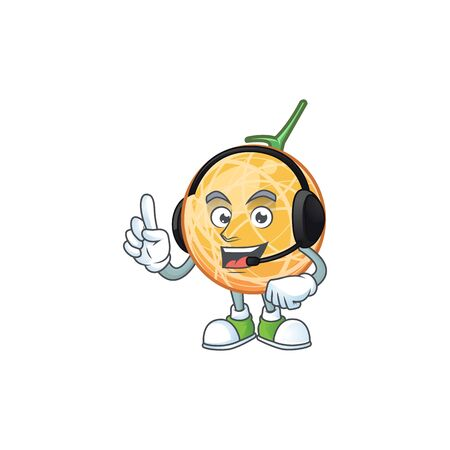 With headphone object cantaloupe fruit for mascot character vector illustration Illustration