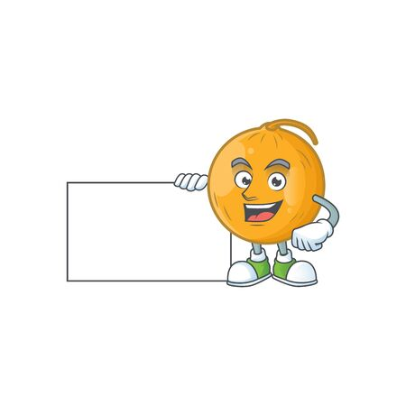 Thumbs up with board casaba melon cartoon character with mascot vector illustration
