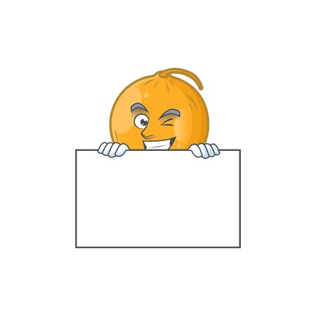 Grinning with board casaba melon cartoon character with mascot vector illustration