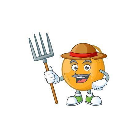 Farmer casaba melon cartoon character with mascot vector illustration Illustration