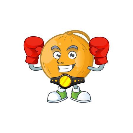 Boxing casaba melon cartoon character with mascot vector illustration