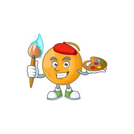 Painter casaba melon cartoon character with mascot vector illustration
