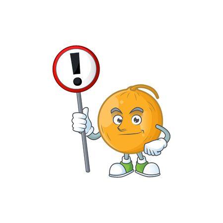 With sign casaba melon cartoon character with mascot vector illustration Standard-Bild - 129649313