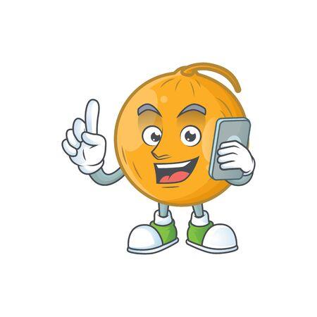 With phone casaba melon cartoon character with mascot vector illustration Illustration