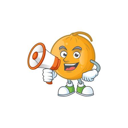 With megaphone casaba melon cartoon character with mascot vector illustration Illustration