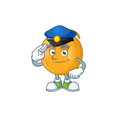 Police casaba melon cartoon character with mascot vector illustration