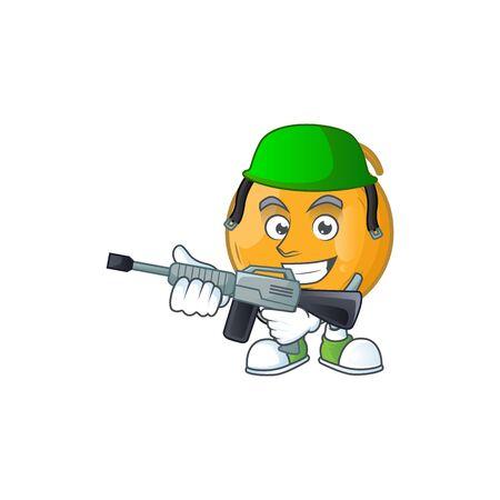 Army casaba melon cartoon character with mascot vector illustration