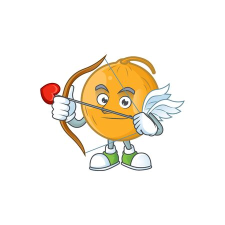 Cupid casaba melon cartoon character with mascot vector illustration