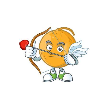 Cupid casaba melon cartoon character with mascot vector illustration