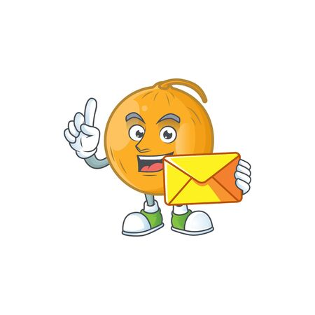 With envelope sweet casaba melon fruit cartoon character. vector illustration Stock Illustratie