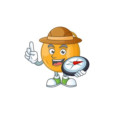Explorer ripe casaba melon in character mascot vector illustration