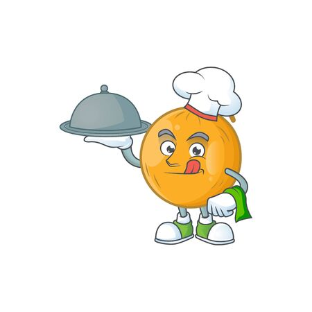 Chef with food ripe casaba melon in character mascot vector illustration