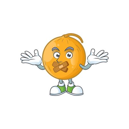 Silent casaba melon fruit cartoon on white background vector illustration