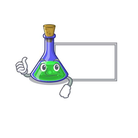 Thumbs up with board magic potion in a mascot bottle vector illustration Illustration