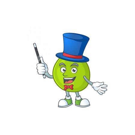 Magician green guava cartoon character for dessert healthy vector illustration