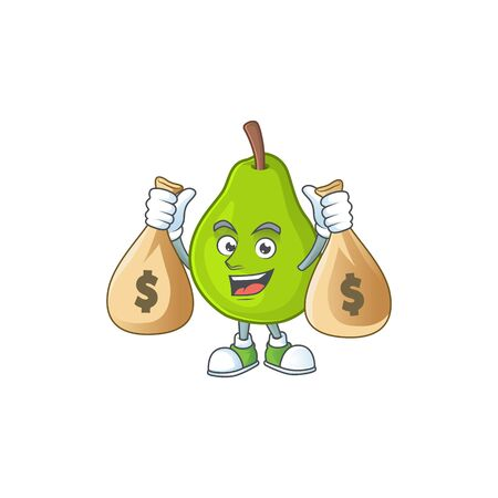 With money bag cartoon guava mascot on white background vector illustration