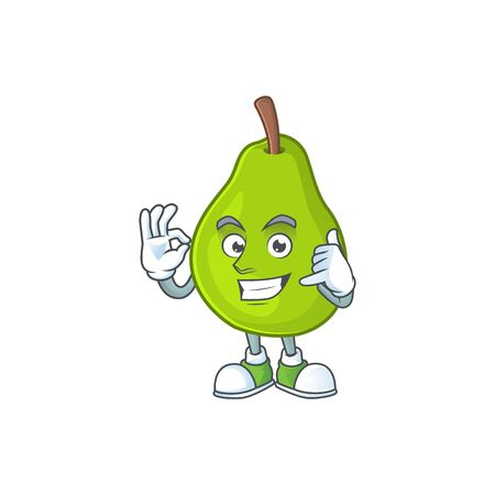 Call me green guava cartoon character for dessert healthy vector illustration