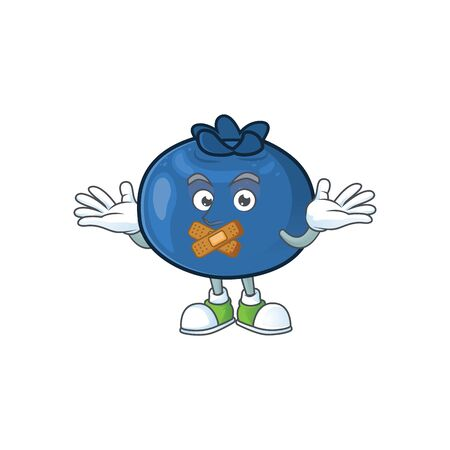 Silent cartoon sweet blueberry character on white background vector illustration