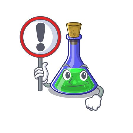 With sign magic potion in a mascot bottle vector illustration