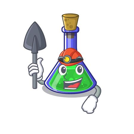 Miner magic potion cartoon shaped in character