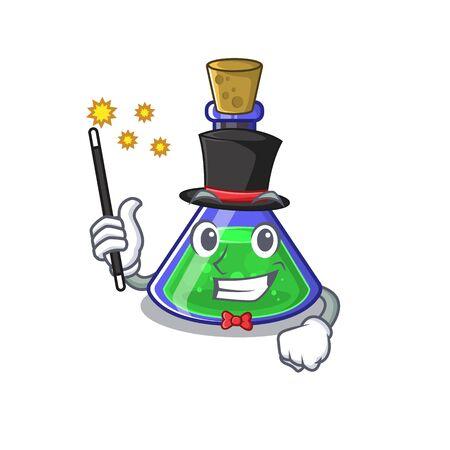 Magician magic potion on the cartoon table Stock Illustratie