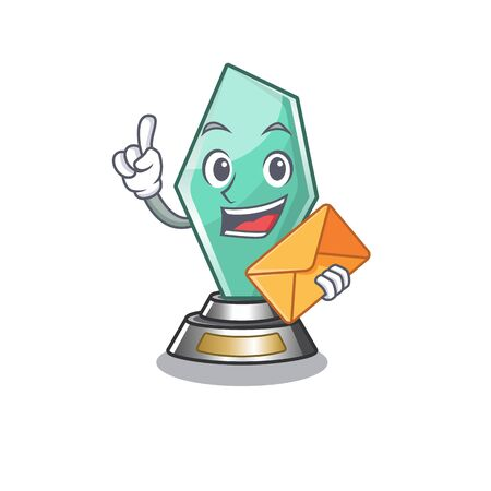 With envelope acrylic trophy isolated with the mascot