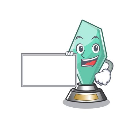 With board acrylic trophy cartoon shaped on character Illustration