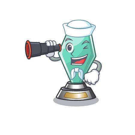 Sailor with binocular acrylic trophy mascot on a cartoon
