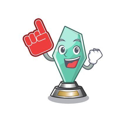 Foam finger acrylic trophy stored in cartoon drawer Illustration