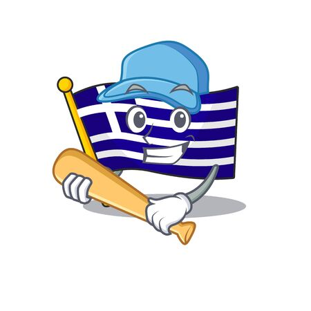 Playing baseball flag greece isolated in the character
