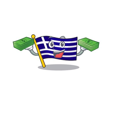 With money flag greece character shaped the cartoon