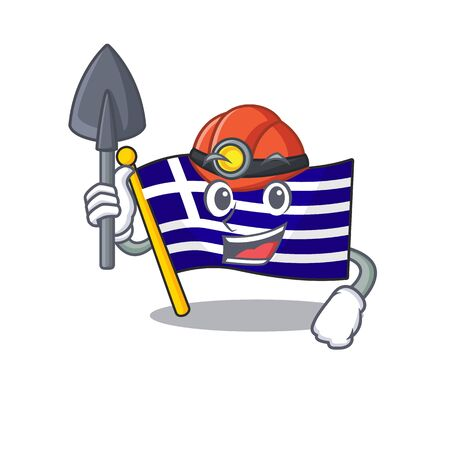 Miner flag greece character shaped the cartoon vector illustration