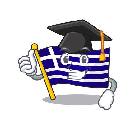 Graduation greece character flag hoisted on mascot pole