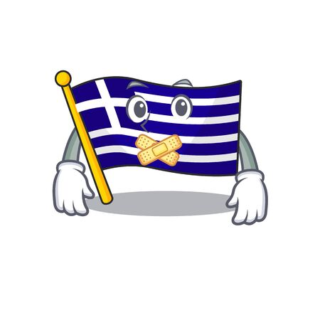 Silent greece flag placed in cartoon cupboard Çizim