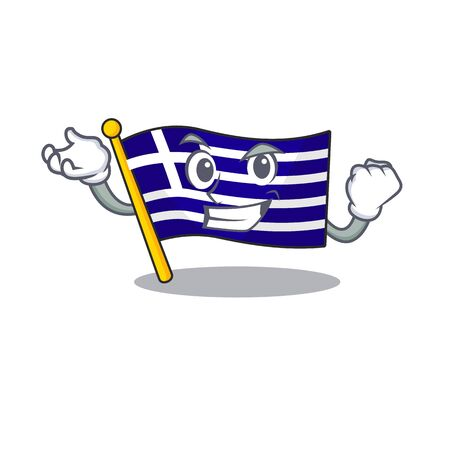 Successful greece character flag hoisted on mascot pole Archivio Fotografico - 129703781