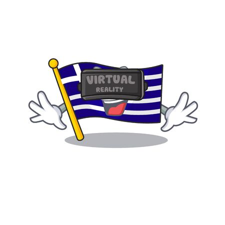 Virtual reality flag greece character shaped the cartoon vector illustration