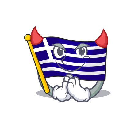 Devil flag greece character shaped the cartoon