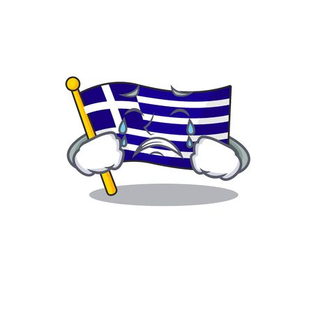 Crying flag greece character shaped the cartoon 向量圖像