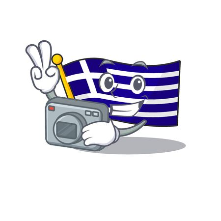 Photographer flag greece character shaped the cartoon