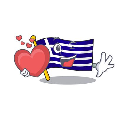 With heart flag greece character shaped the cartoon vector illustration 向量圖像