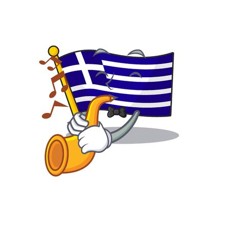 With trumpet flag greece character shaped the cartoon