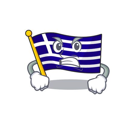 Angry flag greece character shaped the cartoon 向量圖像