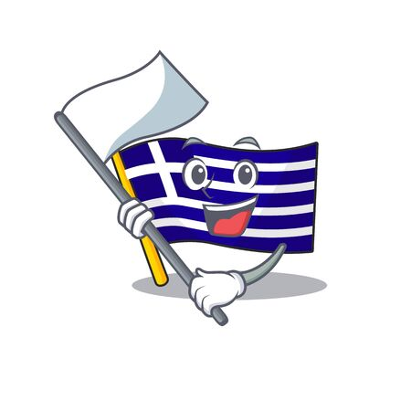 With flag greece flag placed in cartoon cupboard
