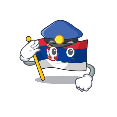 Police flag serbia isolated with the character vector illustration