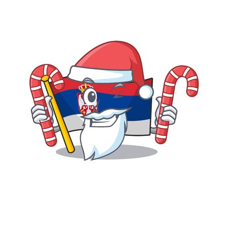 Santa with candy Serbian flags stored in cartoon drawer Ilustração